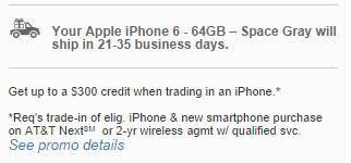 Apple iPhone 6 series lead time att