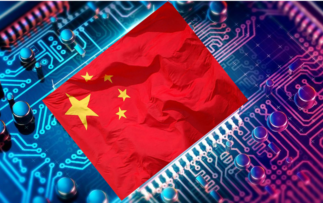 Chinese flag on the circuit board