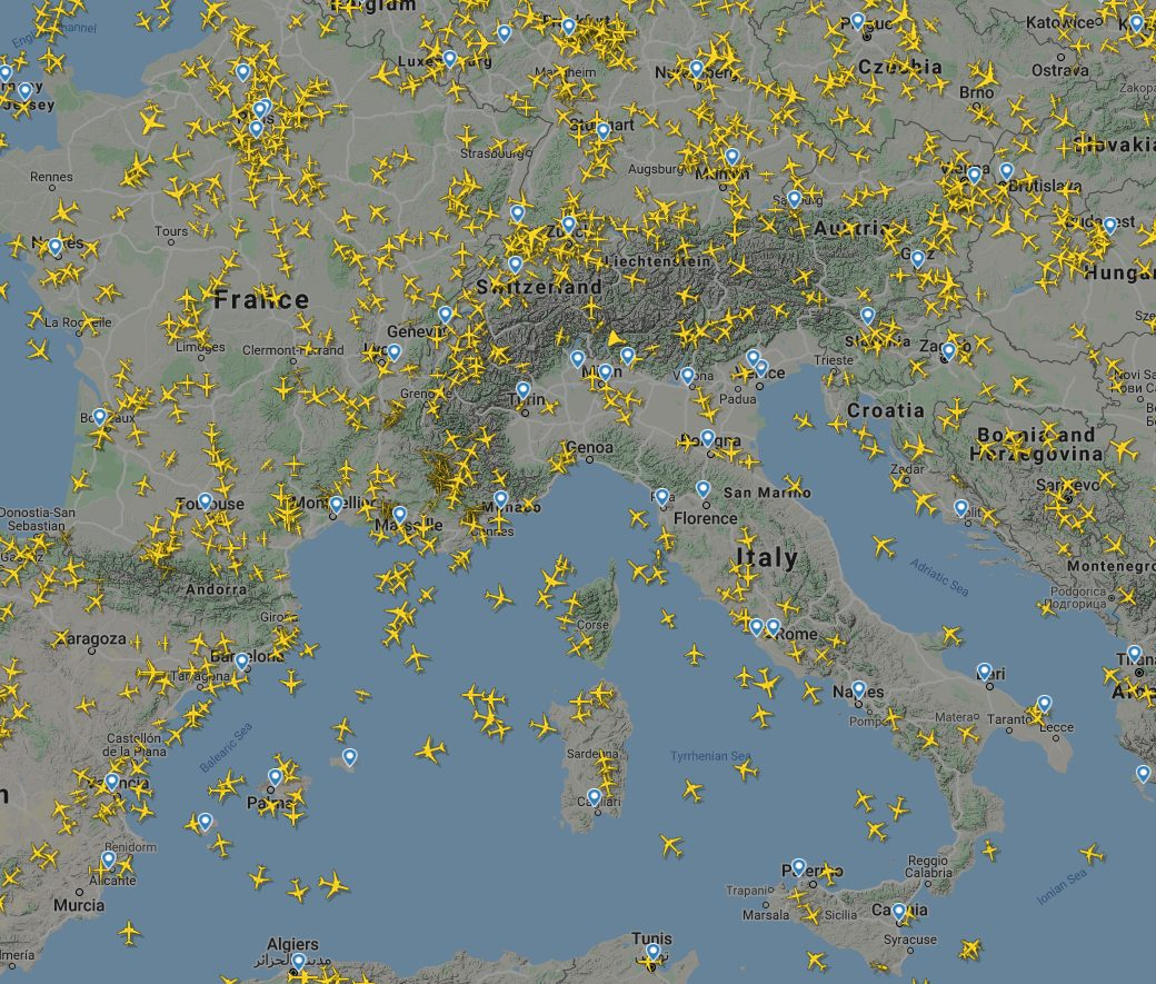 Counterpoint COVID-19 Many Fewer Flights Than Normal Originating and Terminating in Italy