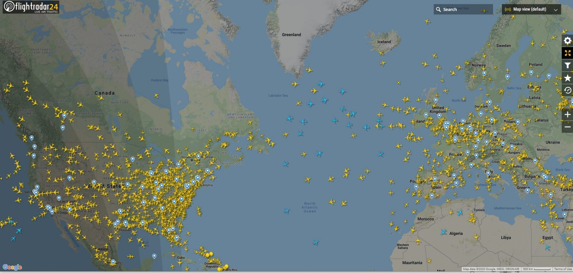 Counterpoint Covid update: Reduced air traffic over the Atlantic