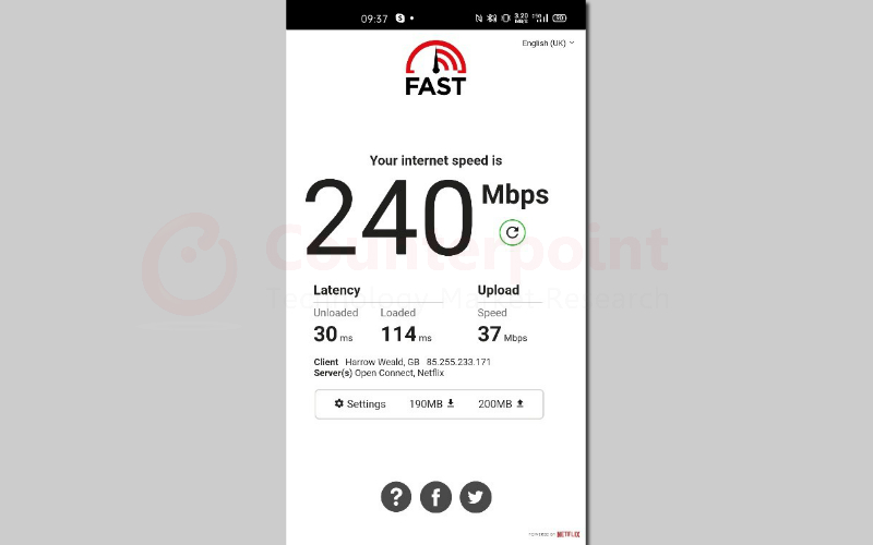 counterpoint realme x50 pro 5g speed test