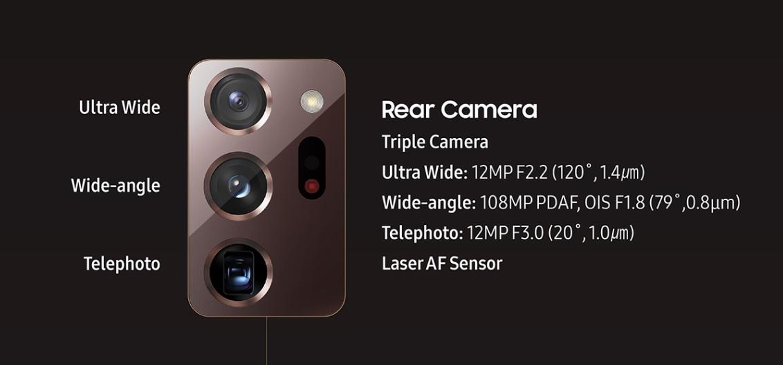 samsung galaxy note 20 ultra 5G rear camera setup